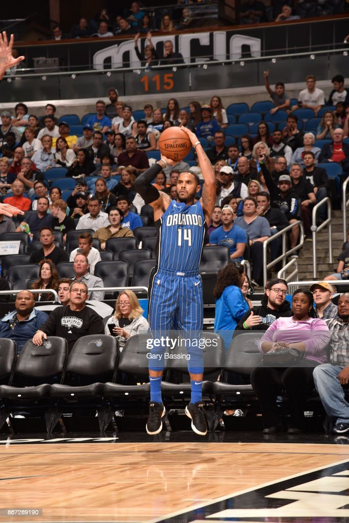 D.J. Augustin #14 of the Orlando Magic shoots the ball against the San Antonio Spurs on October 27, 2017 at Amway Center in Orlando, Florida.