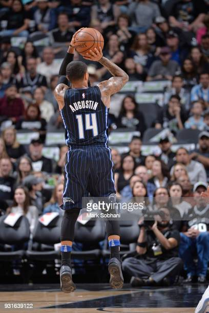 J Augustin of the Orlando Magic shoots the ball during the game against the San Antonio Spurs on March 13 2018 at the ATT Center in San Antonio Texas...