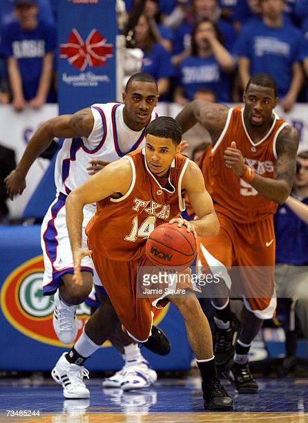 Augustin of the Texas Longhorns controls the ball on a fast break during the second half of the game against the Kansas Jayhawks on March 3, 2007 at...