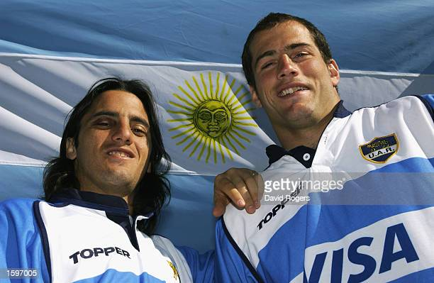 Augustin Pichot and Felipe Contepomi of Argentina poses for a photograph at the hotel where the Argentinian Rugby Union team are currently staying in...
