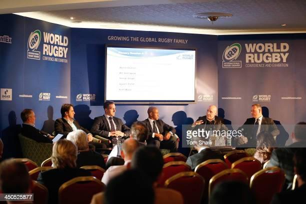 Augustin Pichot of Argentina Will Greenwood of England George Gregan of Australia Keith Wood of Ireland and Warren Deutrom of Cricket Ireland talk to...