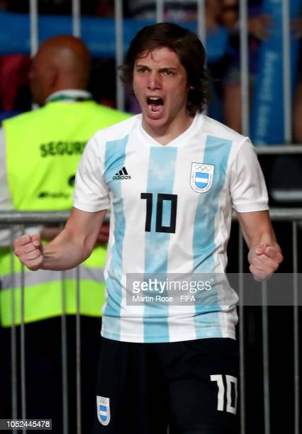 Augustin Raggiati of Argentina celebrates after he scores the 2nd goal in the Men's Futsal 3rd place match between Argentina and Egypt during the...
