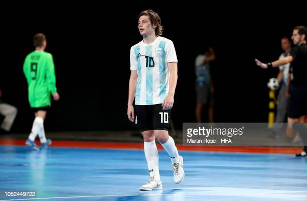 Augustin Raggiati of Argentina reacts in the Men's Futsal 3rd place match between Argentina and Egypt during the Buenos Aires Youth Olympics 2018 at...