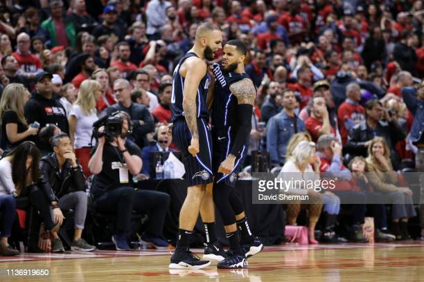 J Augustin reacts to shooting the gamewinning three point basket with Evan Fournier of the Orlando Magic against the Toronto Raptors during Game One...