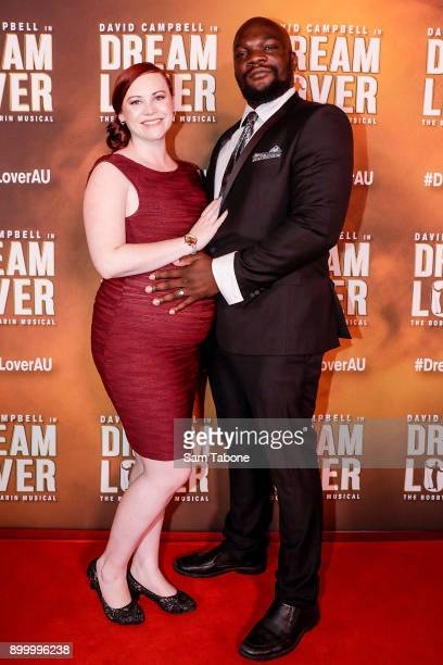 Augustine Aziz and Sarah Tchantcho attends opening night of Dream Lover The Bobby Darin Musical at Melbourne Arts Centre on December 31 2017 in...