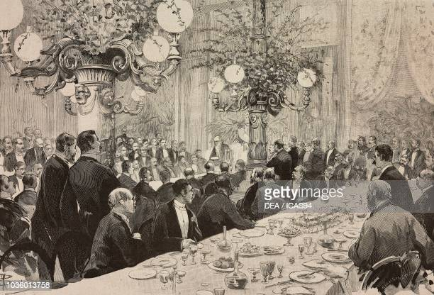 Augustine Depretis' speech at the electoral banquet Rome Italy 1886 elections drawing by Dante Paolocci engraving from L'Illustrazione Italiana No 22...
