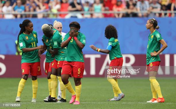 Augustine Ejangue of Cameroon reacts during the 2019 FIFA Women's World Cup France Round Of 16 match between England and Cameroon at Stade du Hainaut...
