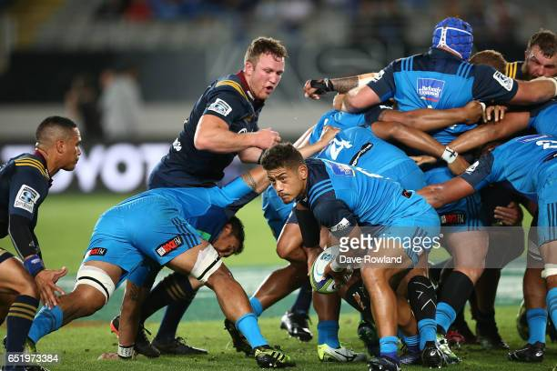 Augustine Pulu of the Blues clears the ball during the round three Super Rugby match between the Blues and the Highlanders at Eden Park on March 11...