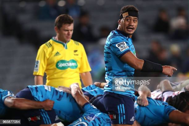 Augustine Pulu of the Blues during the round 16 Super Rugby match between the Blues and the Rebels at Eden Park on June 2 2018 in Auckland New Zealand
