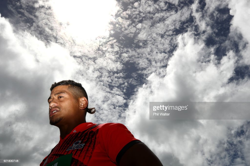 Augustine Pulu of the Blues talks to media during the Blues Super Rugby training session at Alexandra Park on February 21, 2018 in Auckland, New Zealand.