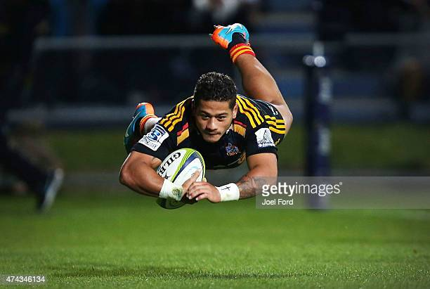 Augustine Pulu of the Chiefs scores a try during the round 15 Super Rugby match between the Chiefs and the Bulls at Rotorua International Stadium on...