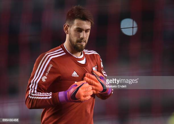 Augusto Batalla goalkeeper of River Plate gestures prior to a match between River Plate and Aldosivi as part of Torneo Primera Division 2016/17 at...