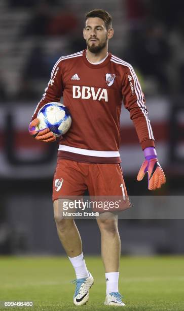 Augusto Batalla goalkeeper of River Plate walks with the ball prior to a match between River Plate and Aldosivi as part of Torneo Primera Division...