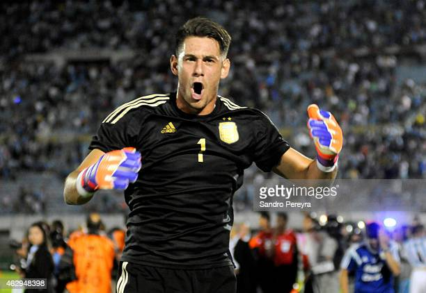 Augusto Batalla Marga of Argentina celebrates after winning the title at the end of the a match between Argentina and Uruguay as part of South...