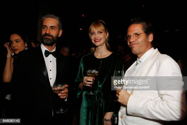 Augusto de Arruda Botelho Ana Claudia Michels and David Laloune attend the 2018 amfAR gala Sao Paulo at the home of Dinho Diniz on April 13 2018 in...