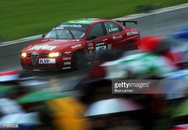 Augusto Farfus of Brazil and n.Technology on his way to winning race 2 of the FIA World Touring Car Championship on May 21, 2006 at Brands Hatch,...