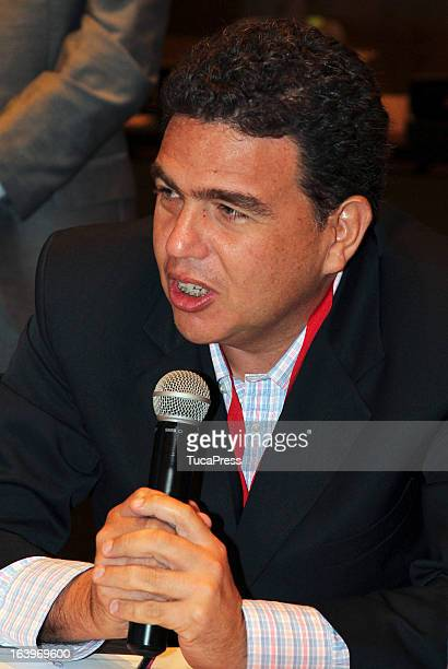 Augusto Javier Moran talks during the Antidopping Commission Conference as part of XIX Sports Minister of America and Iberoamerica Meeting Organized...
