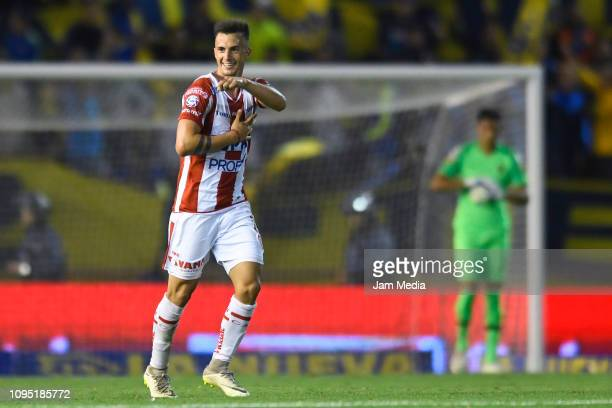 Augusto Lotti of Union celebrates after scoring the second goal of his team during a friendly match between Boca Juniors and UniÛn de Santa Fe at...