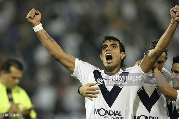 Augusto Matias Fernandez of Velez Sarsfield celebrate his second scored goal during a match against LDU Quito as part of Santander Libertadores Cup...