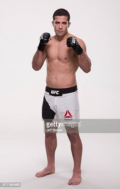 Augusto Mendes of Brazil poses for a portrait during a UFC photo session on February 18 2016 in Pittsburgh Pennsylvania