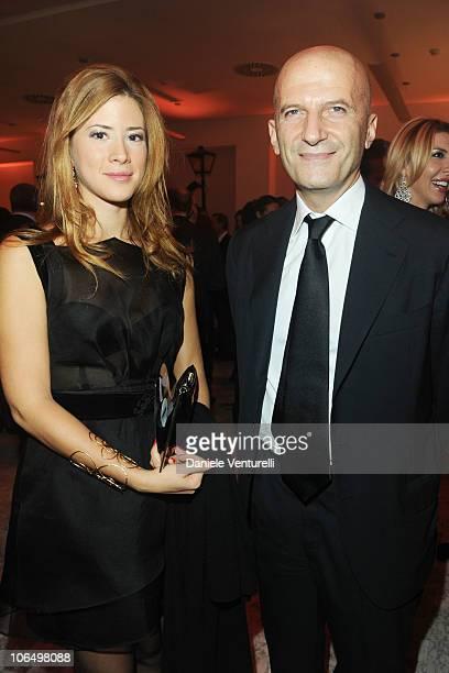 Augusto Minzolini and Gabriella Giammanco attends The Bulgari Express for Save The Children Cocktail Party at the Salone delle Fontane on November 3...