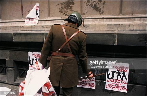 Augusto Pinochet before the referendum in Santiago Chile on September 19 1988