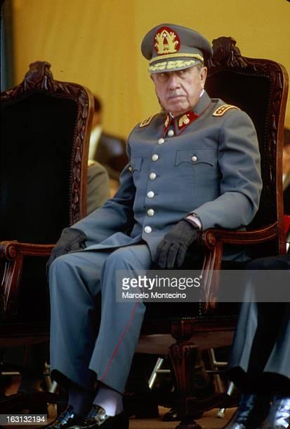 Augusto Pinochet, San Bernardo, Chile 1987 reviewing his troops