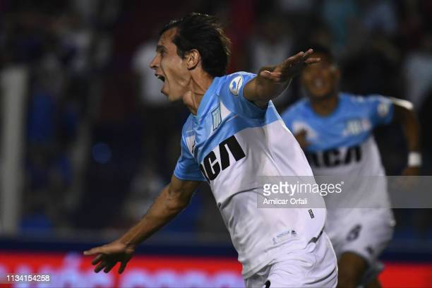 Augusto Solari of Racing Club celebrates after scoring the first goal of his team during a match between Tigre and Racing Club as part of Superliga...