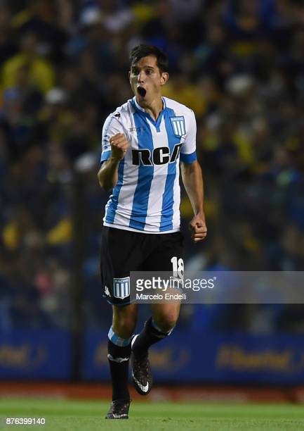 Augusto Solari of Racing Club celebrates after scoring the second goal of his team during a match between Boca Juniors and Racing Club as part of the...