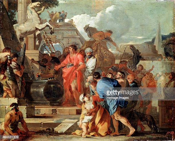 'Augustus before the Tomb of Alexander the Great' 17th century The Roman Emperor Augustus visiting Alexander the Great's tomb in Alexandria Egypt...