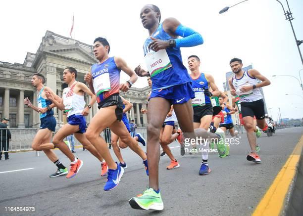 Augustus Maiyo of United States competes during women's marathon on July 27, 2019 in Lima, Peru.