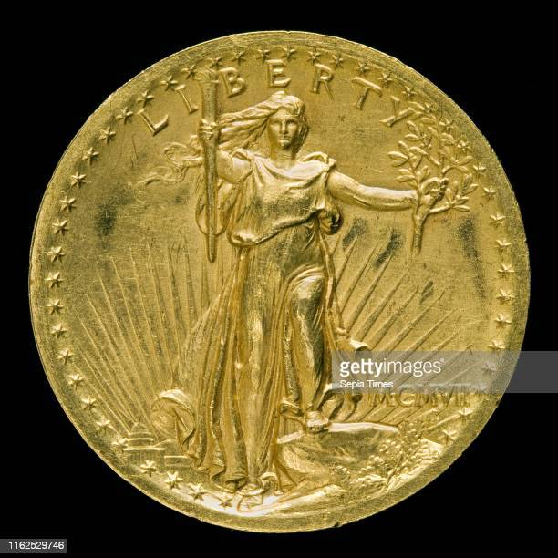 Augustus SaintGaudens 'Double Eagle' Twenty Dollar Gold Piece [obverse] American 18481907 model 19051907 struck 1907 gold alloy