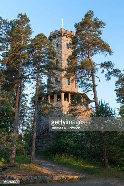aulanko lookout tower and lush trees at the aulanko nature reserve in hämeenlinna, finland, on a sunny morning in the summer. - lookout tower stock pictures, royalty-free photos & images