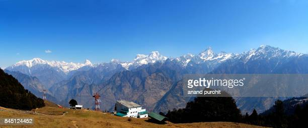 auli, famous hill station of uttrakhand to watch panoramic view of himalayan range, india - uttarakhand stock pictures, royalty-free photos & images
