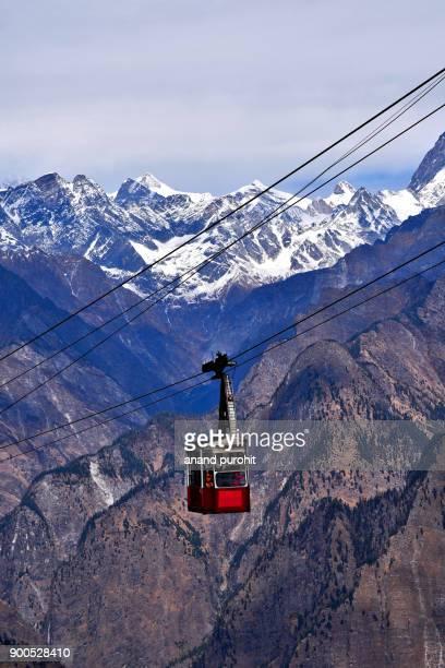auli, high altitude cable car, longest ropeway of asia, joshimath, uttarakhand, india - uttarakhand stock pictures, royalty-free photos & images