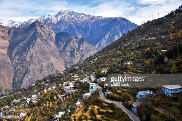 auli, scenic view from high altitude cable car (ropeway), joshimath, uttarakhand, india - uttarakhand stock pictures, royalty-free photos & images