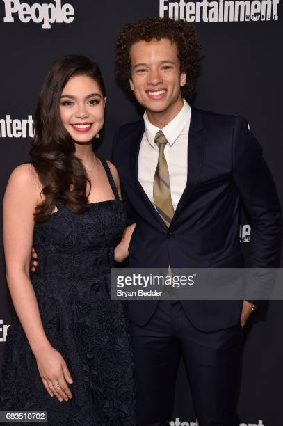 Auli'i Cravalho and Damon J Gillespie of Rise attend the Entertainment Weekly and PEOPLE Upfronts party presented by Netflix and Terra Chips at...