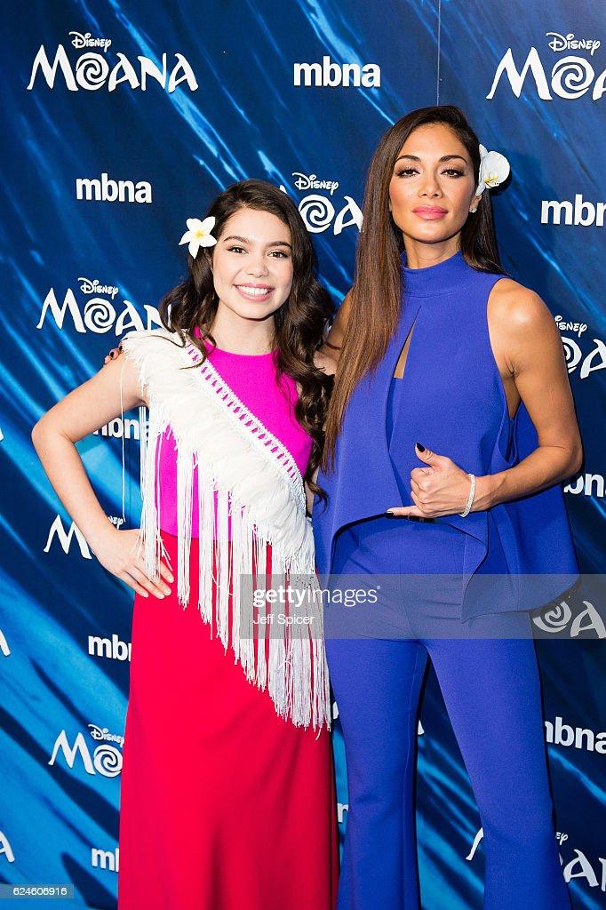 Auli'i Cravalho and Nicole Sherzinger attend the UK Gala screening of 'MOANA' at BAFTA on November 20, 2016 in London, England.