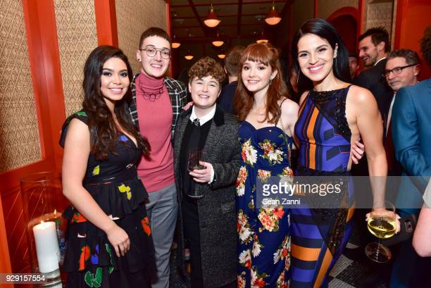 Auli'i Cravalho Guest Ellie Desautels Taylor Richardson and Shirley Rumierk attend the after party for Rise hosted by NBC The Cinema Society at...