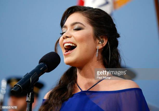 Auli'i Cravalho of the hit Disney film Moana performs the US National Anthem at PBS' 2017 National Memorial Day Concert at US Capitol West Lawn on...