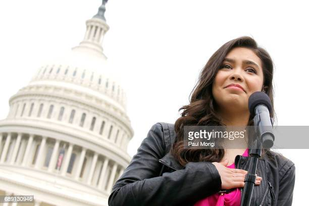 Auli'i Cravalho of the hit Disney film Moana rehearses for PBS' 2017 National Memorial Day Concert at US Capitol West Lawn on May 27 2017 in...