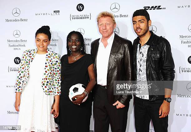 Auma and Akini Obama and Boris and Noah Becker arrive for the Minx By Eva Lux Show at MercedesBenz Fashion Week Spring/Summer 2013 on July 7 2012 in...