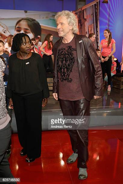 Auma Obama and Thomas Gottschalk are seen in the studio of the RTL Telethon TV show on November 25 2016 in Cologne Germany The telethon is held every...