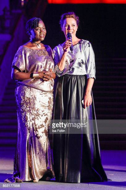 Auma Obama halfsister of former US president Barack Obama and Luxembourgian presenter Desiree Nosbusch during the Minx Fashion Night in favour of...