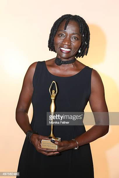 Auma Obama wins an award at the Look Women Of The Year Awards 2015 at the city hall on November 17 2015 in Vienna Austria
