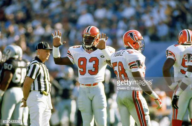 Aundray Bruce of the Atlanta Falcons against the Los Angeles Raiders at the Coliseum circa 1988 in Los AngelesCalifornia on November 20th 1988