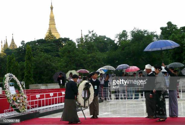 Aung San Oo elder brother of democracy icon Aung San Suu Kyi and his wife pay respect to the late General Aung San and eight other leaders who were...