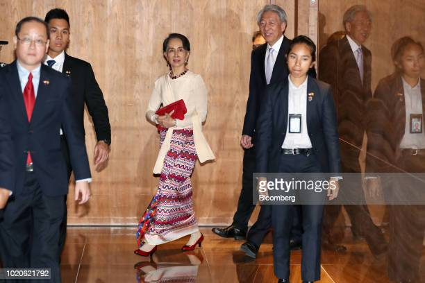 Aung San Suu Kyi Myanmar state counselor speaks during the Singapore Lecture in Singapore on Tuesday Aug 21 2018 Myanmar is working with Bangladesh...