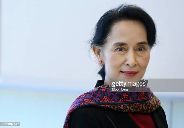 Aung San Suu Kyi Myanmar's opposition leader arrives at Panasonic Center Tokyo in Tokyo Japan on Thursday April 18 2013 Suu Kyi said on April 17...