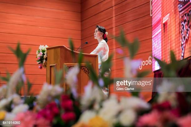 Aung San Suu Kyi State Counsellor of Myanmar hosts and speaks at the Panlong Peace Conference which convened to strengthen the fragile ceasefire...